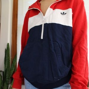 adidas Tops - Adidas Red White & Blue Half Zip Hoodie Size Med